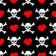 White skulls and red hearts on black background - seamless pattern — Stock Vector