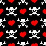 witte schedels en rode harten op zwarte achtergrond - naadloos patroon — Stockvector