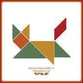 Kleurrijke tangram kat - vector achtergrond — Stockvector