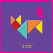 Colorful tangram cat - vector background — Stock Vector