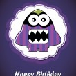 Happy birthday card with cute cartoon monster — Stock Vector #26683689