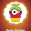 Happy birthday card with cute cartoon monster — Stockvektor