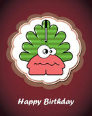 Happy birthday card with cute cartoon monster — Stockvektor
