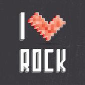 I love rock on black backround — Stok Vektör