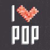I love pop on black backround — Stock Vector
