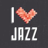 Ik hou van jazz op zwart backround — Stockvector