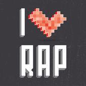Kocham rap na czarny backround — Wektor stockowy