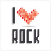 I love rock on white backround — Stock Vector
