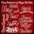 Stock vektor: Merry christmas and new year labels, ribbons, icons