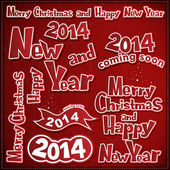 メリー クリスマスと新年のラベル、リボン、アイコン — ストックベクタ