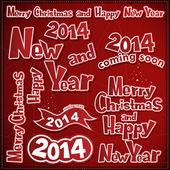 Vrolijke kerstmis en nieuwjaar labels, linten, pictogrammen — Stockvector