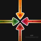 4 つの矢印 — ストックベクタ