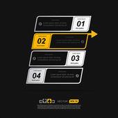 Abstrakt fyra banners med pil — Stockvektor