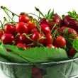 Sweet cherry and strawberry in a bowl — Stock Photo
