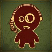 滑稽的男孩用耳机 — 图库矢量图片