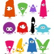 Stock Vector: Set of cute monsters