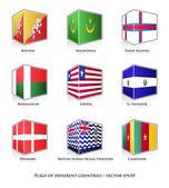 Set of nine flags — Stock Vector