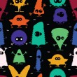 Cute monsters - seamless pattern — Vektorgrafik