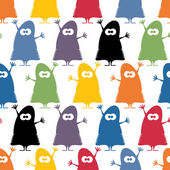 Cute monsters - seamless pattern — Stock Vector