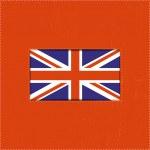 United Kingdom flag on red, grunge background — Stock Vector