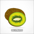 Stock Vector: Cartoon kiwi slice isolated on white. vector