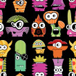 Cute monsters on black — Image vectorielle