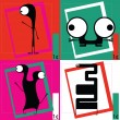 Four Cute cartoon monsters — Vettoriali Stock
