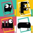 Four Cute cartoon monsters — Stockvectorbeeld