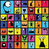 Verzameling van cute monsters. — Stockvector