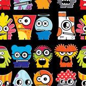 Cute monsters on black — Stock Vector