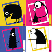 Four Cute cartoon monsters — Stock Vector