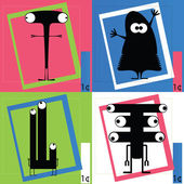 Four Cute cartoon monsters — Vetorial Stock