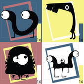 Four Cute cartoon monsters — Cтоковый вектор