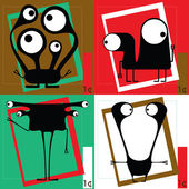 Quatro monstros bonito dos desenhos animados — Vetorial Stock