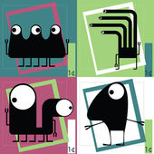 Four Cute cartoon monsters — Wektor stockowy