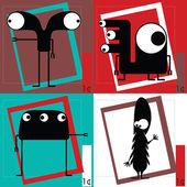 Cuatro monstruos de dibujos animados lindo — Vector de stock