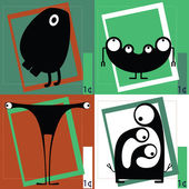 Four Cute cartoon monsters — Vettoriale Stock