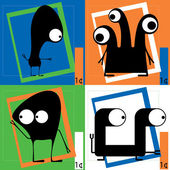 Four Cute cartoon monsters — Vector de stock