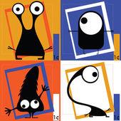 Four Cute cartoon monsters — Stock Vector