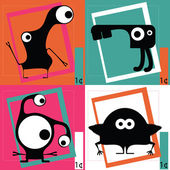 Four Cute cartoon monsters — 图库矢量图片