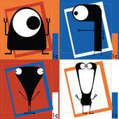 Fyra söta tecknade monster — Stockvektor