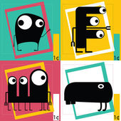 Four Cute cartoon monsters — Stockvektor