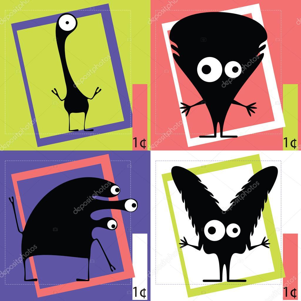 Quattro mostri simpatico cartone animato — vettoriali