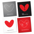 Happy and bad valentine's day set card — Stock Vector