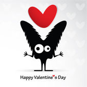 Cute monster with heart — Stock Vector