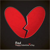 Bad valentine's day card with broken heart — Stock Vector