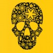 Skull with flowers on yellow — Stock Vector