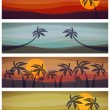 Set of four tropical resorts view — Stock Vector