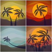 Set of four tropical resorts view. — Stock Vector