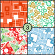 Vector abstract seamless pattern set — Stock Vector